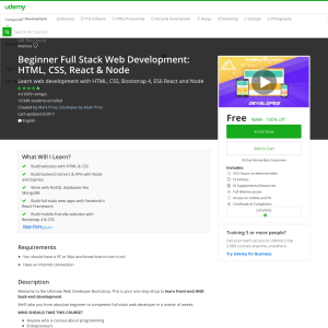 Free Beginner Full Stack Web Development: HTML, CSS, React & Node