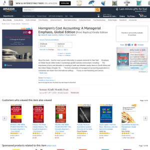 Free Book: Horngren's Cost Accounting - A Managerial Emphasis, Global Edition