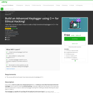 Free Build an Advanced Keylogger using C++ for Ethical Hacking!