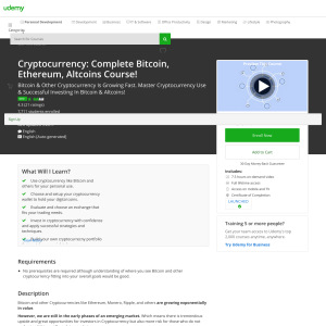 Free Cryptocurrency: Complete Bitcoin, Ethereum, Altcoins Course!