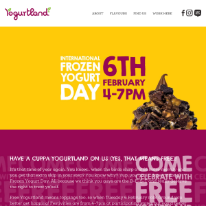 Free Cup of Yoghurt & Toppings