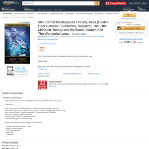Free eBook: 500 Eternal Masterpieces of Fairy Tales - Cinderella, Rapunzel, The Little Mermaid, Kindle Edition