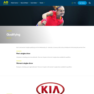 Free Entry for Australian Open Men's and Women's Singles Qualifying