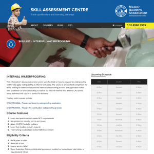 Free (Government Subsidised) Internal Waterproofing 1 Day Course @ Skill Assessment (NSW)
