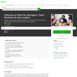 Free Influence at Work for Managers, Team Members & New Leaders