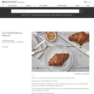 Free Nutella Menu at Brunetti