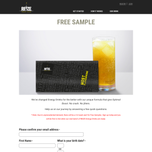 Free Sample of Reize Energy Drinks