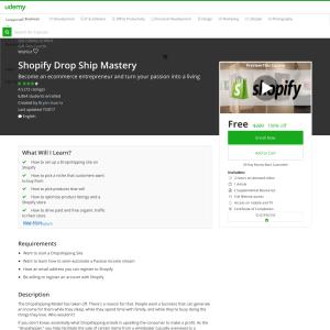 Free Shopify Drop Ship Mastery