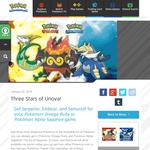 Get Serperior, Emboar, and Samurott for your Pokemon Omega Ruby or Pokemon Alpha Sapphire game